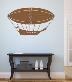 Steampunk Airship Wall Decal-Custom color and by Pillboxdesigns