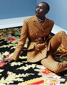 """Grace Bol in the """"Dons Elegant Pantsuits editorial- Elle Netherlands August '12"""