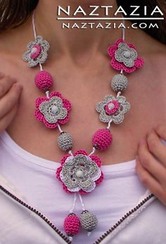 Crochet Beaded Flower Necklace Jewelry