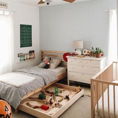 7 Things You Can Do With the Space Under a Kid's Bed is part of Kid room decor - Let's be real If you leave any space empty in a kid's room, they're going to stuff it full of things anyway Beat them to the punch Bed Storage, Bedroom Storage, Storage Ideas, Kids Beds With Storage, Storage Solutions, Deco Kids, Diy Zimmer, Toddler Rooms, Baby And Toddler Shared Room