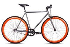 6KU Vélo Complet Fixie BARCELONA Gris Orange | Alltricks.fr