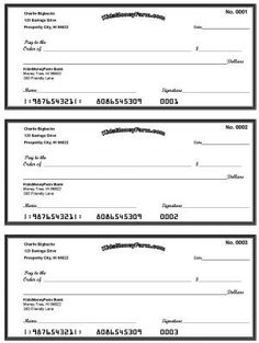 Free Printable Check Templates Great For Teaching Kids The Value Of Money Or Using As PBS