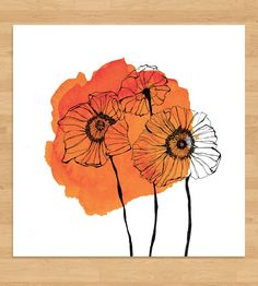 Poppies Watercolor Spot Art Print by Morgan Kendall Art on Scoutmob Shoppe #watercolorarts