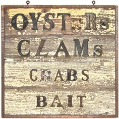 Folk Sign   Oysters   Clams   Crabs   Bait
