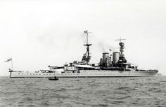 Brand new 15 in battlecruiser HMS Renown as commissioned, September 1916 (she missed Jutland by 3 months).  Heavily reconstructed prior to WW2, the was the only British battlecruiser to survive that conflict.  She was scrapped in 1948: sister HMS Repulse was famously sunk by Japanese aircraft in December 1941.