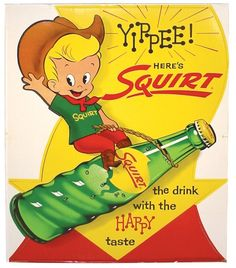 1960's Squirt soda cardboard display.