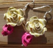@KD Eustaquio Dalsgard hehe  Hot Pink Sugar Skull Day of the Dead and Lime Green Fimo Flower Earrings HANDMADE Free Shipping