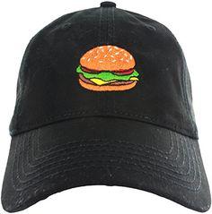 Dad Hat Cap - Emoji Burger Embroidered Adjustable Black B…