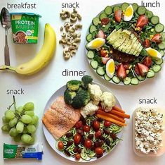 Healthy meal plan and snacks :). Healthy, wholesome and satisfying! Healthy Meal Prep, Healthy Snacks, Healthy Eating, Eat Better, Diet Recipes, Healthy Recipes, Lunch Snacks, Lunches, Food Diary