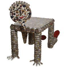 FOLK ART BOTTLE CAP TABLE