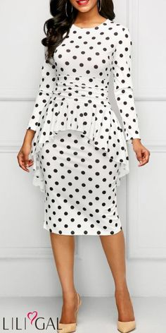 Ideas For Moda Femenina Casual Dresses Polka Dots Trendy Dresses, Elegant Dresses, Cute Dresses, Casual Dresses, Modest Fashion, Fashion Dresses, White Outfits, Classy Dress, African Dress