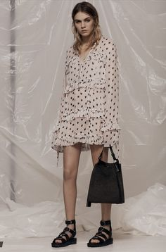 AllSaints Women's March Lookbook Look 2: Deirdre Ruffle Shirt, Pearl Mini Hobo Bag, Raquel Sandals