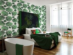 Under the palm leaf • Contemporary - Bedroom ✓ 365 Day Money Back Guarantee ✓ Consulting on the Pattern Selection ✓ 100% Safe✓ Set up online!