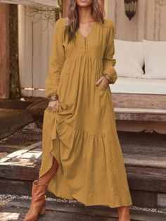 Long Sleeve Maxi, Maxi Dress With Sleeves, Pixie Cut Blond, Look Boho, Fashion Outfits, Trendy Outfits, Dress Fashion, Clothes, Dresses Dresses