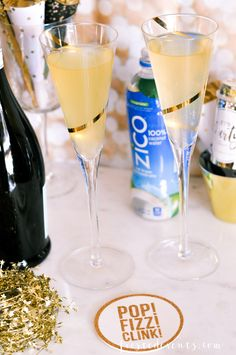 New Years Eve Party Ideas -- Ready to make a toast to 2017! Cheers to the beginning of an awesome New Year Pineapple Coconut Sparkler cocktail recipe, made with @zicococonut 100% coconut water because #InsideIsEverything #ad