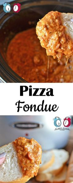 Pizza Fondue from Alarm Clock Wars. This Pizza Fondue will keep warm in your slow cooker as long as you need it to. but it wont last long! Packed with meat and cheese, its pizza on a spoon! Crockpot Fondue, Fondue Raclette, Crockpot Recipes, Cooking Recipes, Cooking Tips, Dip Recipes, Cheese Recipes, Appetizer Recipes, Snack Recipes