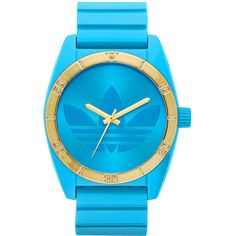 adidas Originals 'Santiago' Neon Watch ($45) ❤ liked on Polyvore featuring jewelry, watches, accessories, reloj, relogio, logo watches, gold watches, gold wrist watch, neon watches and golden jewelry