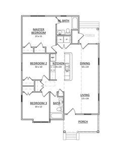 Beautiful, Efficient and Practical (HWBDO76063)   Bungalow House Plan from BuilderHousePlans.com