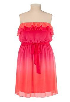 Ombre Ruffle Front Tube Dress available at #Maurices