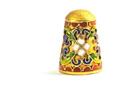 Thimble Vintage Cloisonne' Flowers Gold Enameled by ArabellaReason, $9.00