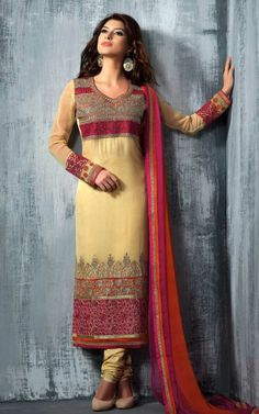 CREAM GEORGETTE EMBROIDRED SALWAR KAMEEZ - SLF 9666