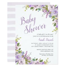 Lilac Floral Baby Shower Invitation Baby Shower Invitation Cards, Wedding Shower Invitations, Flower Invitation, Baby Shower Invites For Girl, Girl Shower, Brunch Invitations, Digital Invitations, Lilac Baby Shower, Do It Yourself Baby