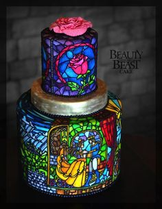 Fabulous Stained Glass Beauty And The Beast Cake