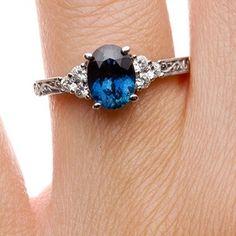 18K White Gold Sapphire Adorned Trio Diamond Ring