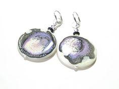 Large Black Purple Blue Paitned Earrings Sterling by JKCJewelry