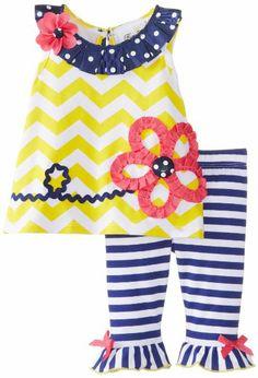 Rare Editions Baby Baby-Girls Newborn Yellow White Navy Chevron Stripe Capri Set