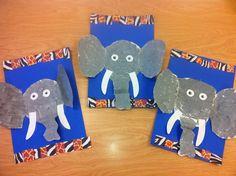 Kindergarten Elephants/Sponge Painting/Pattern(art teacher: v. giannetto)