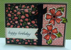 HAPPY HEART CARDS: STAMPIN' UP! BIRTHDAY BLOSSOMS, PRETTY PETALS CARD #2