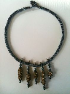Catkin necklace. Seed bead woven by Jeka Lambert.