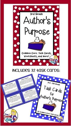 This 66 page Author's Purpose packet is filled with task cards, graphic organizers, worksheets, posters, doubled sided practice passages, writing activities, a foldable, a game and more! Motivating activities! $