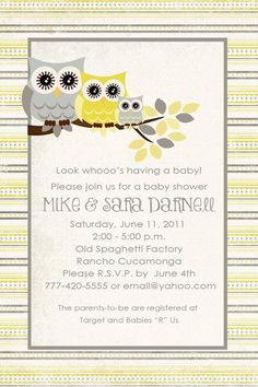 owl baby shower invitation love the colors too