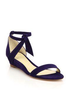 f88e04c19807b9 Alexandre Birman Clarita Suede Ankle-Tie Demi-Wedge Sandals - Navy 9.5  Alexandre Birman