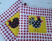 Quilted Potholders in Fun and Funky Chicken Motif Yellow with Red and White Checkered Border