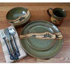 Thank you. You will receive a $1 off coupon during checkout. Rustic Mountain Scene Dinnerware Set