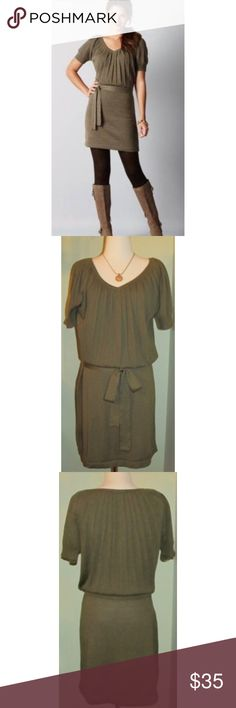 """NWT Ann Taylor LOFT Blouson Sweater Dress merino M Beautiful new w/ tags Ann Taylor LOFT soft merino wool blouson sweater dress in size M.  It features a v-neck, pleated top, and waist tie belt.  Dark olive green color.  Measures about 38"""" long, and 20"""" - 21"""" across the front under the arms.  The fit can be adjusted somewhat because of the style & it has stretch - skirt can be pulled higher or lower, waistline adjusted, etc.  Merino wool, acrylic. LOFT Dresses"""