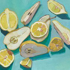 Pears and Lemons / Erika Lee Sears Fruit Painting, Guache, Love Illustration, Still Life Art, Sketchbook Inspiration, Fruit Art, Painting Lessons, Traditional Art, Art Inspo