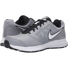 Nike Downshifter 6 (Stealth/Black/White) Men's Running Shoes ($48) ❤ liked on Polyvore featuring men's fashion, men's shoes, grey, mens shoes, mens breathable shoes, black white mens dress shoes, mens gray dress shoes and mens black and white shoes