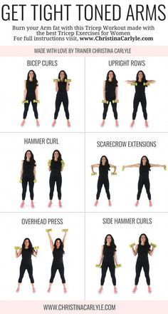 Arm workout for women & Best Arm Exercises for women that want tight toned arms. This arm workout routine was made with some of the& The post Arm Workout for Women that Want Tight Toned Arms appeared first on Griffith Diet and Fitness. Fitness Workouts, Fitness Motivation, Fit Girl Motivation, Yoga Fitness, Fitness Watch, Best Arm Workouts, Arm Workouts At Home, Home Workout Beginner, Beginner Upper Body Workout