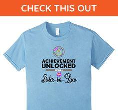 Kids Achievement Unlocked! Sister-In-Law! Bridal Shower T-Shirt 6 Baby Blue - Wedding shirts (*Amazon Partner-Link)