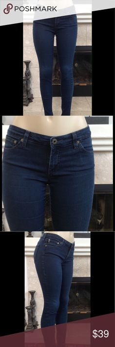 """AG Adriano Goldshmied Skinny Legging Jeans 5/6 Very cute AG Adriano Goldschmied super skinny leggings Jeggings jeans.  Very soft and stretchy.  Size is 5/6.  Inseam 32"""", Rise 8"""", leg opening 5"""", waist 15"""".  Material tag is half Torn, but it's visible and is 68% Cotton, 29% Polyester, and 3% spandex.  From a smoke free home.  (125) AG Adriano Goldschmied Jeans Skinny"""