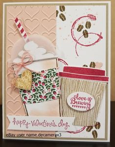VALENTINE'S DAY CARD KIT, HANDMADE STAMPIN UP COFFEE CAFE,  MERRY CAFE, set of 4 #HandmadeStampinUp #ValentinesDay