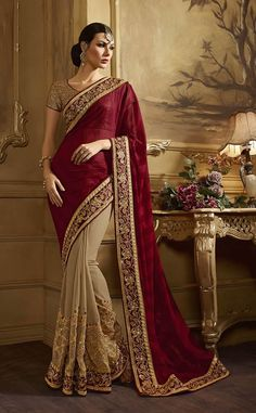 Beige Colour Georgette saree With Heavy Embroidery Saree