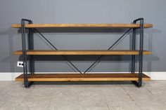 Rustic 3 Shelf Shelving Unit Made From Reclaimed Barn Wood - Custom fabricated steel legs - Hand Made Urban Bookcase
