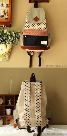 a7214c64a4 Fashion Polka Dot Stitching Backpack only  35.99 -AtWish.com