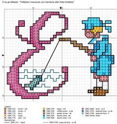 alfabeto maiuscolo con bambina stile Holly Hobbies E