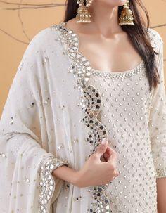 Ivory Chanderi and Net Mirror Embroidered Kurta Set Kurti Neck Designs, Kurti Designs Party Wear, Blouse Designs, Mirror Work Dress, Mirror Work Lehenga, Dress Indian Style, Indian Fashion Dresses, Pakistani Dress Design, Pakistani Outfits